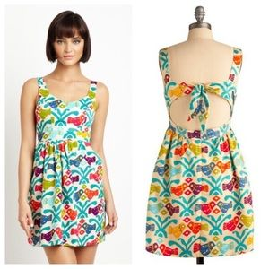 ANTHROPOLOGIE Judith March Colorful Bird Dress - M